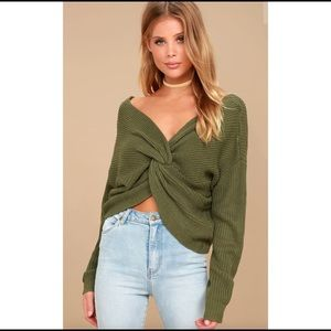 Lulu's olive green cropped sweater